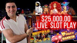 $25,000 Live Casino Play & JACKPOTS | High Limit Slot Machines !