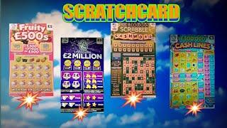 What a Game..£2MILLION Purple.SCRABBLE CASHWORD .FRUITY £500..CASH LINES. INSTANT £100.Scratchcards