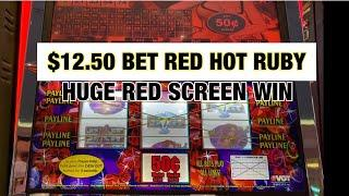VGT 5 LINER HOT RED RUBY HUGE RED SCREEN WIN $12.50 BET AT CHOCTAW DURANT + MR MONEY BAGS!
