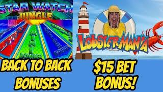 Back to Back Bonuses-Star Watch Jungle & Winning on Lucky Larry's Lobstermania!
