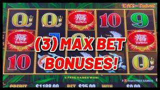 HIGH LIMIT Lightning Link EYES OF FORTUNE (3) $25 MAX BET Bonus Rounds Slot Machine Casino
