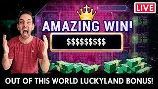 LIVE ONLINE SLOTS  OUT OF THIS WORLD BONUS!!  PlayLuckyLand Social Casino #AD
