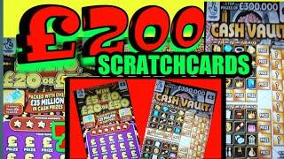 £200 SCRATCHCARDS.CASH VAULT.5X..50X CASH..WIN ALL.SPIN £100