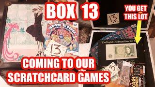 £250.of SCRATCHCARDS....& BOX 13 NOW ADDED TO OUR PRIZES IN THE BIG SCRATCHCARD GAME.WOW!..ITS FREE
