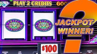 EXTREME SLOT PLAY  TRIPLE DOUBLE DIAMOND HIGH LIMIT  $200 A SPIN  JACKPOT HANDPAY!