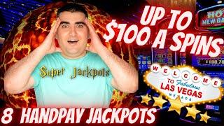 Up To $100 A Spin Slot Play & 8 HANDPAY JACKPOTS On High Limit Slot Machines During LIVE STREAM