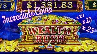 I CAN'T STOP PLAYING !!WEALTH RUSH (INCREDIBLE COINS) Slot (SEGA) $5.00 Bet$75 Slot Free Play栗スロ