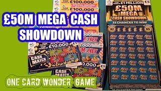 Scratchcard..One Card Wonder..£50M.Mega Showdown..and Bonus cards mmmmmmMMM..says