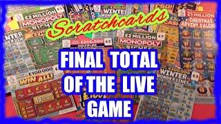 Total...Losses.& Winners.on Scratchcard LIVE Game...here the total & What was left Unpoend envelopes
