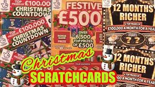 """WE HAVE GOT...NEW Christmas Scratchcards""""FESTIVE £500""""Christmas Countdown""""12 Months RICHER""""5X Cash"""
