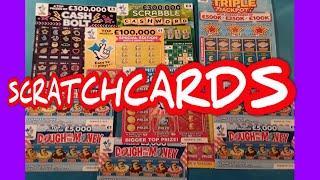 Scratchcards.Triple Jackpot..£500,000 Red..Cash Bolt.£100,000 Yellow.Dough me the Money.& Bonus card