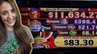 BIG WIN! GOOD FORTUNE Slot Machine in Vegas w/ Lady Luck HQ