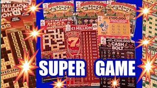 Super Entertaining  Scratchcards..MILLIONAIRE BINGO..CASH 7s. INSTANT  £100..CASH BOLT...WhooooOOOOO