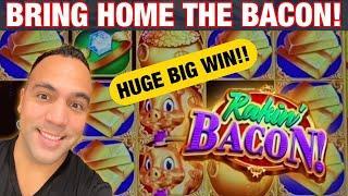 RAKIN' BACON SLOT MACHINE HUGE BIG WIN!!! | Zeus Unleashed 1st Spin Bonus!! ️