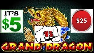 WIFE BETS $5 I BET $25 WHO WINS MORE? GRAND DRAGON HIGH LIMIT SLOT MACHINE!