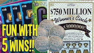 FUN with 5 WINS!!  $150/Tickets 2X $30 Winner's Circle  TEXAS LOTTERY Scratch Offs