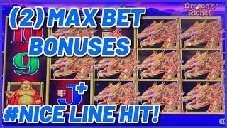 HIGH LIMIT Lightning Link Dragon's Riches (2) $25 Max Bet Bonus Rounds Slot Machine Casino