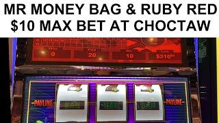 CHOCTAW CASINO $10 MAX BET MR MONEY BAG & $12.50 BET HOT RUBY RED 5-LINER