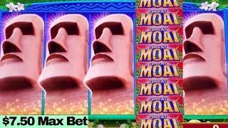 BIG WIN Great Moai Slot Machine $7.50 Max Bet BONUSES   AWESOME SESSION   Over $700 Profit