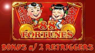 88 Fortunes - finally found this game - bonus with retriggers - Slot Machine Bonus