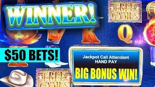 $50 HIGH LIMIT JACKPOT WIN  FREE GAMES RIVER WILD FIRE LINK  HAND PAY SLOT MACHINE