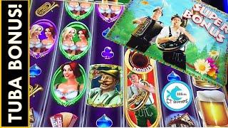 HANS BLEW HIS TUBA FOR ME! I GOT THE SUPER BONUS!  HEIDI & HANNAH'S BIERHAUS SLOT MACHINE BONUSES!