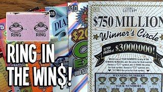 RING IN THE WIN$!  $30 $750 Million Winner's Circle + MORE!  $90 in TX Lottery Scratch Offs