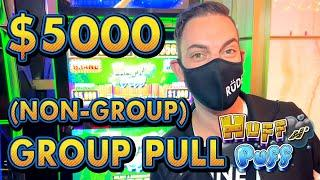 $5,000 HIGH LIMIT  HUFF N' PUFF  Solo Group Slot Pull