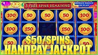 HIGH LIMIT Lightning Link Happy Lantern HANDPAY JACKPOT️$50 Bonus Round Slot Machine Casino