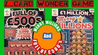 """2 Card Wonder Scratchcard Game..."""" Merry Millions"""" ..And..."""".Full of £500s""""...."""