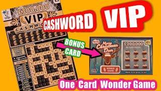 Two Card Wonder Game....Cashword V.I.P..Merry Christmas Scratchcards