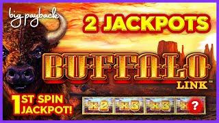 1ST SPIN JACKPOT! Buffalo Link Slot - TWO INCREDIBLE HANDPAYS!!