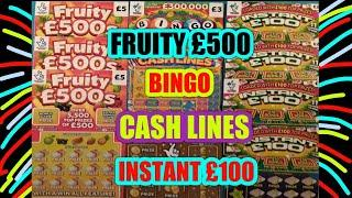 FUN & GAMES..FRUITY £500s..INSTANT £100..CASH LINES..RAONBOW BINGO..£250,000 GOLD.. Scratchcards