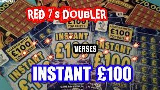 Wow!  Scratchcards   Red 7s DOUBLER  Vs   Blue  INSTANT £100..and BONUS ..Cash Word CARD. MmmmmmMMM