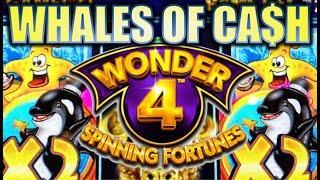 WHALES OF CASH! STARFISH, WHALES, & GOLD BUFFALOES! WONDER 4 SPINNING FORTUNES Slot Machine Bonus