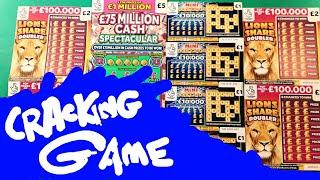 GREAT GAME..£75 MILLON CASH SPECTACULAR ..BINGO BONUS..LION DOUBLER..JEWEL SMASH..CASHWORD..