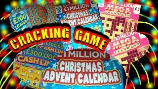 """EXTREMELY ENTERTAINING Scratchcard Game""""Christmas Advent""""MEGA Cashword""""Cash Drop""""£100 Loaded""""Win £50"""