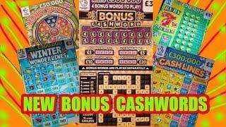 """FANTASTIC GAME.""""NEW BONUS CASHWORD""""Scratchcard""""WINTER WONDERLINES""""CASHLINES""""RUBY 7 DOUBLERS""""WIN £50"""""""
