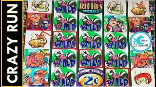 SO MANY WILDS!INSANELY HUGE BONUSES NEARLY BACK TO BACK ON STINKIN' RICH SLOT MACHINE! LESS LINES!