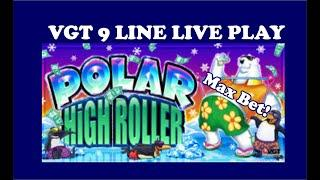 VGT 9 LINER POLAR HIGH ROLLER SLOTS! MAX BET, LIVE PLAY, DOUBLE OR NOTHING