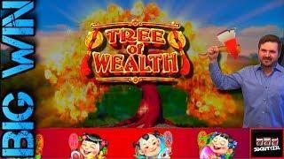 BIG WINS!!! LIVE PLAY on Tree of Wealth Slot Machine with Bonuses