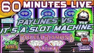 60 MINUTES LIVE WITH IT'S A SLOT MACHINE  DOUBLE DIAMOND  PAYLINES VS. SIMON  SLOT MUSEUM