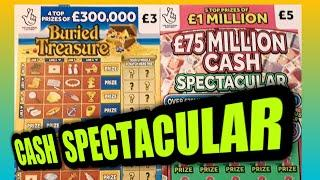 """£75M CASH SPECTACULAR """"""""BURIED TREASURE """"""""LUCKY NUMBERS """"""""CASHWORD MULTIPLIER """"""""SPIN £100""""""""GOLD 7s"""