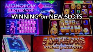 Monopoly Electric Wins & 5 Dragons Rising Jackpots - Winning on New Slots!