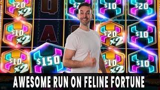 HUGE WIN on FELINE FORTUNE  Mighty Cash PAYS DOUBLE!