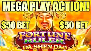 MEGA PLAY ACTION!? $50.00 BET FEATURE! FORTUNE RULER DA SHEN DAO Slot Machine (SG)