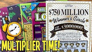 Multiplier TIME!  $100/TICKETS! $30 Winner's Circle + $20 Loteria  TEXAS Lottery Scratch Offs