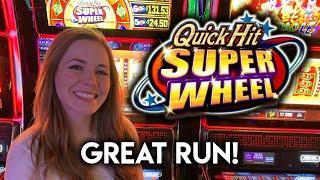 Great Run on Quick Hit Super Wheel Slot Machine! Quick Hits + BONUS!!