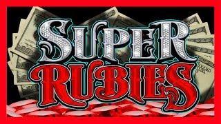 HUGE WIN! RUBBING THE SCREEN ACTUALLY WORKS! BIG WINS GALORE on Super Rubies Slot Machine Bonuses!