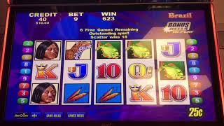 Brazil Slot Machine - 9 Line Bonus Free Games with Retrigger